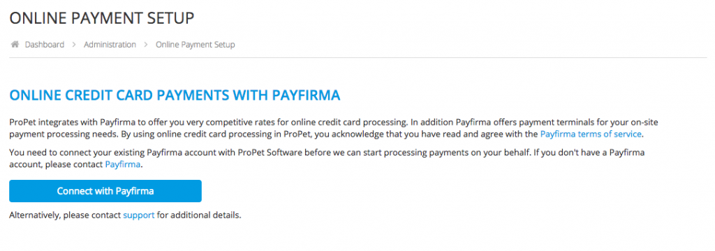 How do I connect my Payfirma to ProPet? 1