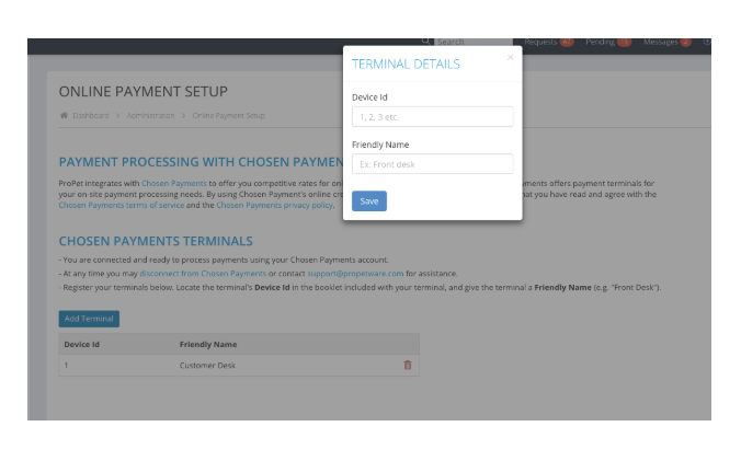 Add Terminal - Chosen Payments