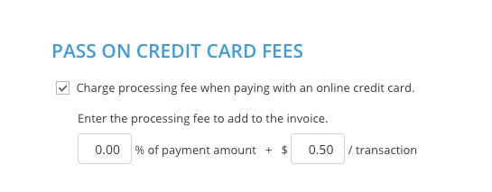 pass on credit card fee