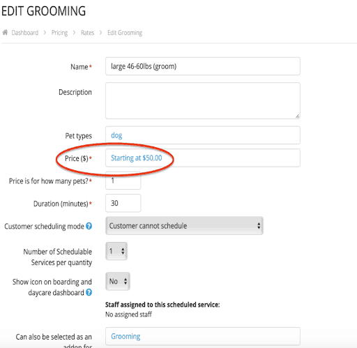 "How do I set a rate to ""starting at"" 2"