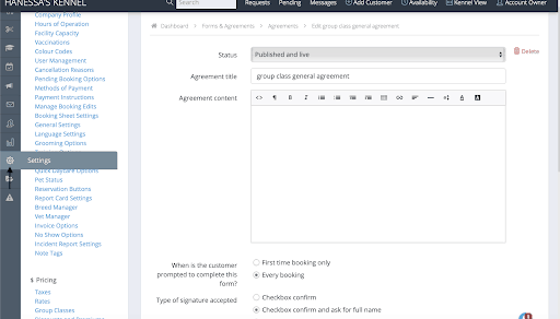 How do I set an agreement to be signed with the typed full name of the customer? 1