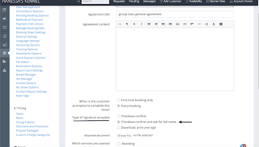 How do I set an agreement to be signed with the typed full name of the customer? 4